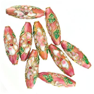Cloisonne tube roze, 9 stuks