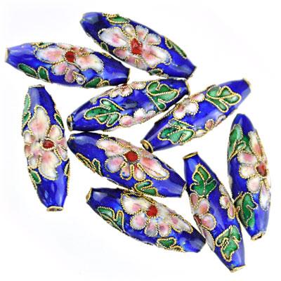 Cloisonne tube blauw, 9 stuks