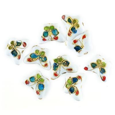 Cloisonne vlinder wit, 9 stuks