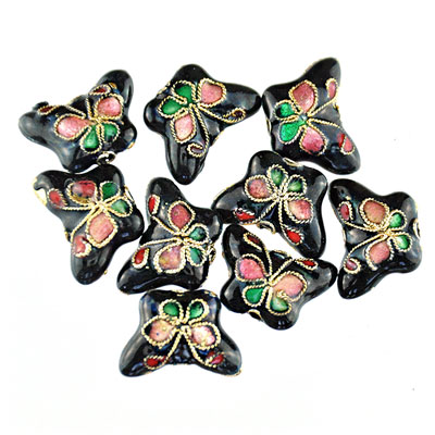 Cloisonne  vlinder zwart, 9 stuks