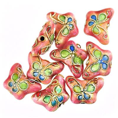 Cloisonne  vlinder roze , 9 stuks