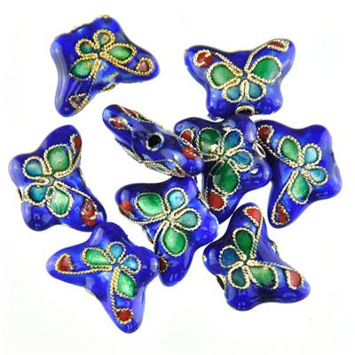 Cloisonne  vlinder blauw, 9 stuks