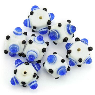 Kubus opaque, blauw/wit, 7 stuks