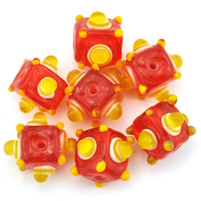Kubus opaque rood/geel, 7 stuks