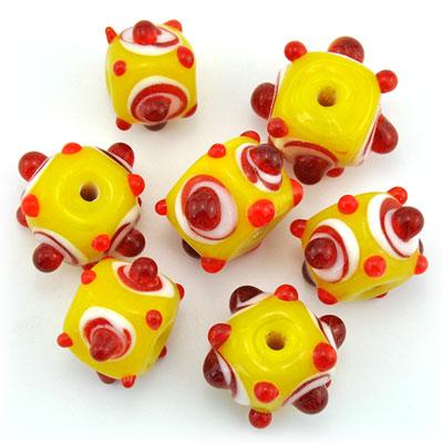 Kubus opaque geel/rood, 7 stuks