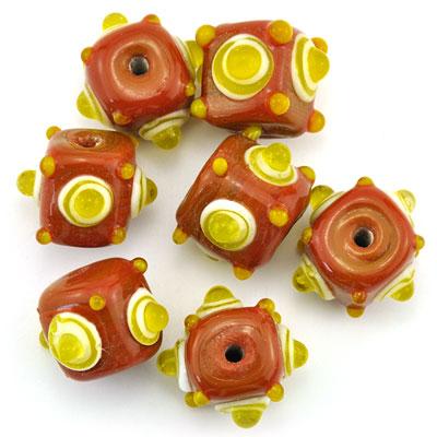 Kubus opaque mokka/geel, 7 stuks