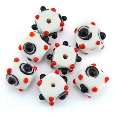 Kubus opaque wit/rood-zwart,7 stuks