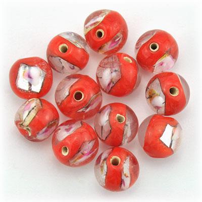 Bol rood/zilver, 16 stuks
