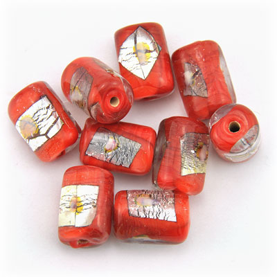 Tube rood/zilver, 15 stuks