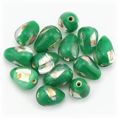 Druppel groen/zilver, 19 stuks