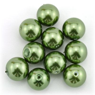 Parels olijfgroen, 12 stuks